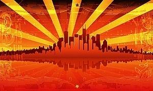red summer urban vector