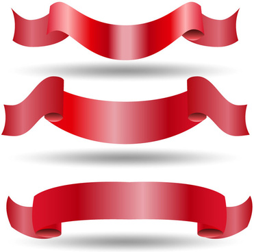 red swirled ribbon sets on white background