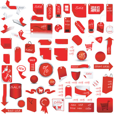 red tags stickers discount vector set