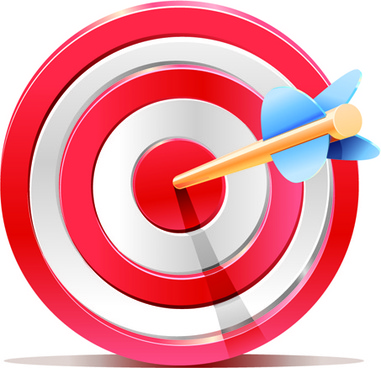 red target aim with darts elements vector