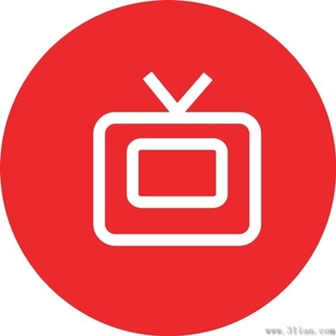 red tv icon vector