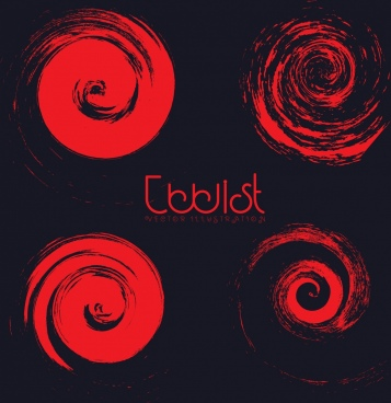 red twist icons collection dark design