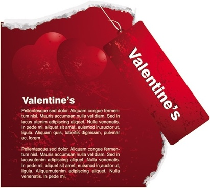 red valentine day card tag vector