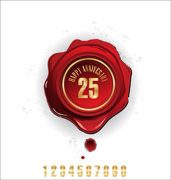 red wax seal cards vector