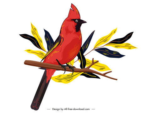 red whiskered painting classical design perching gesture sketch