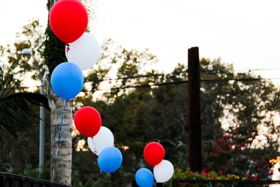red white 038 blue balloons
