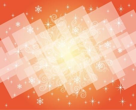 gleaming orange background squares and curves vignette decoration
