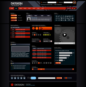red with black website template vector design