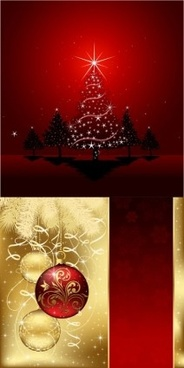 red with gloden christmas art background vector