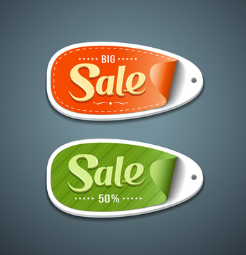 red with green big sale sticker vector
