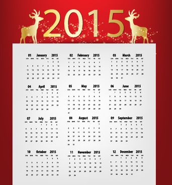 red with white15 calendar vector