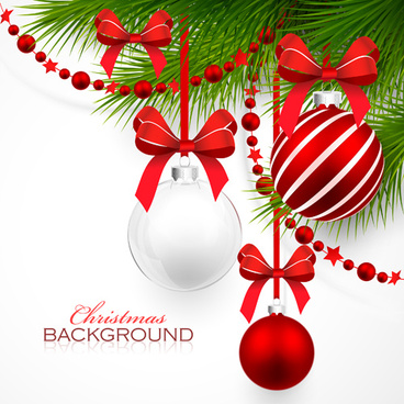 red with white christmas decorations background vector