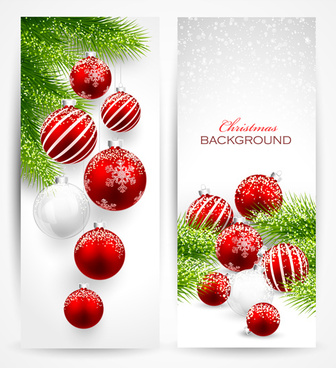 red with white christmas decorations banner
