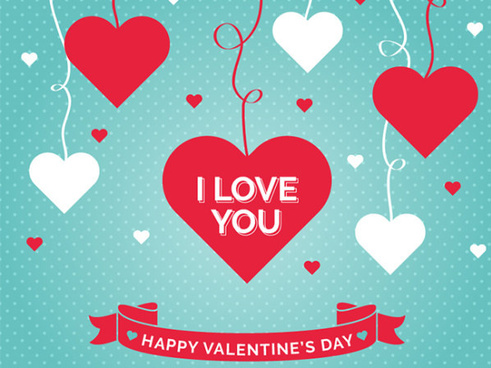 red with white hearts and ribbon vector