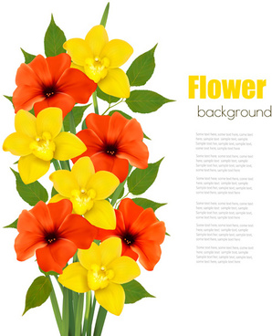 red with yellow flower vector background