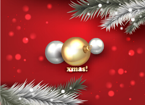 red xmas background with golden baubles vector