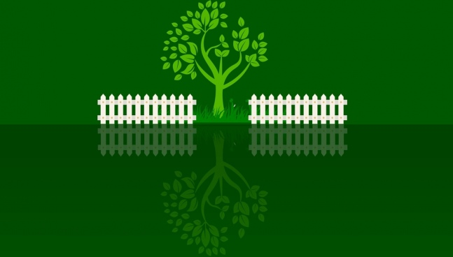 reflection garden background green tree white fence decoration