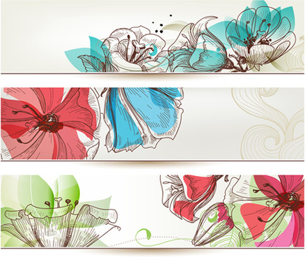 refreshing banner with floral vector design
