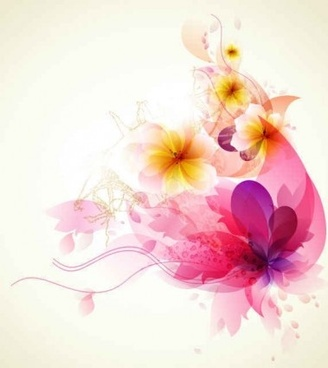 refreshing flowers dream background art vector