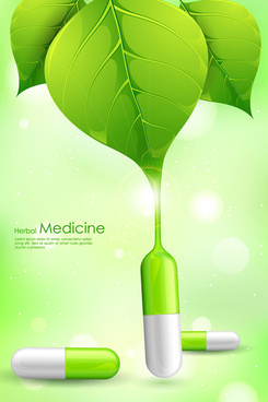 refreshing herbal medical vector background