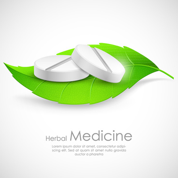 refreshing herbal medical vector background
