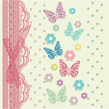 refreshing lace with floral invitation cards vector