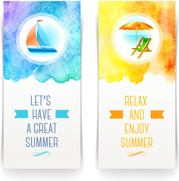 refreshing summer tropical vector banners