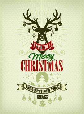 reindeer15 christmas and new year vector background