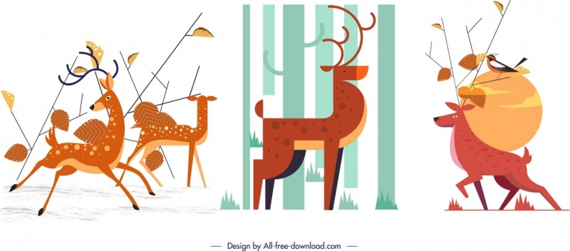 reindeer background sets colored classical cartoon design