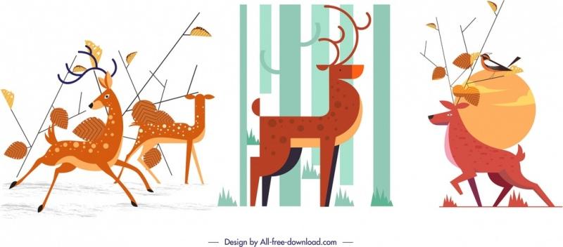 reindeer background sets colored classical cartoon design