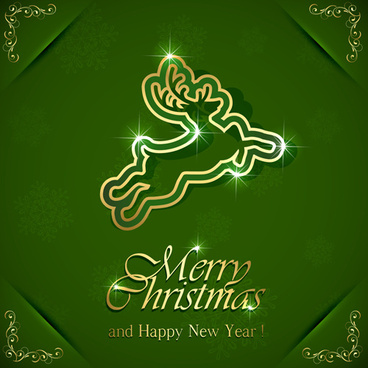 reindeer christmas green background vector