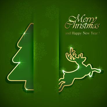 reindeer christmas green background vector