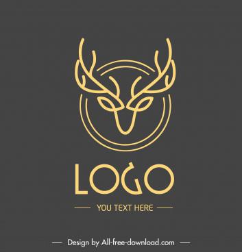 reindeer head logotype symmetric flat sketch