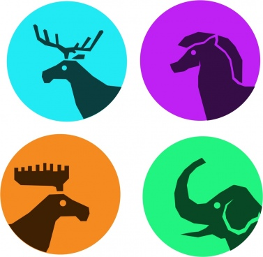 reindeer horse elephant icons collection silhouettes sketch isolation