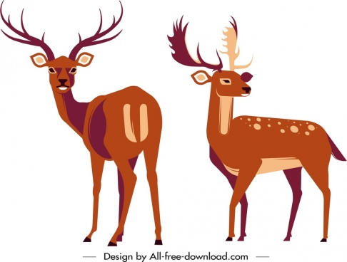 reindeer icons classical design cartoon sketch