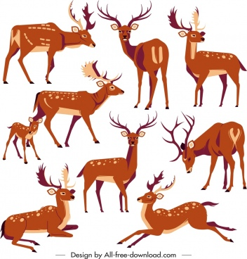 reindeer icons collection cute cartoon characters sketch