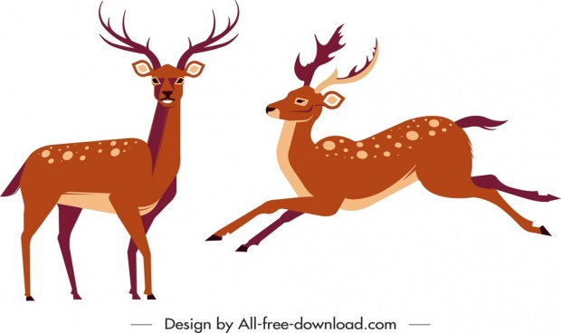 reindeer icons colored cartoon characters sketch