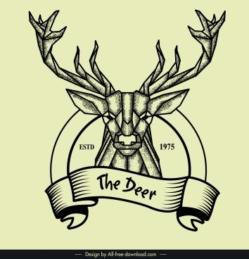 reindeer logo retro polygonal design