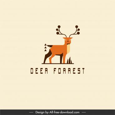reindeer logotype classic flat sketch