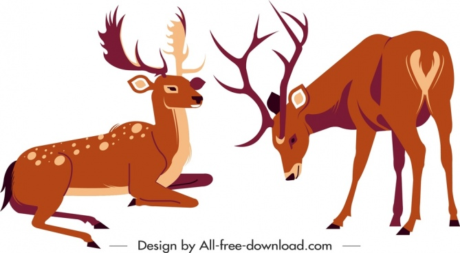 reindeer painting sketch cartoon character classical colored design