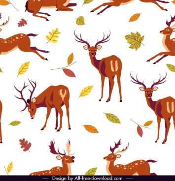 reindeer pattern cute cartoon design leaves decor