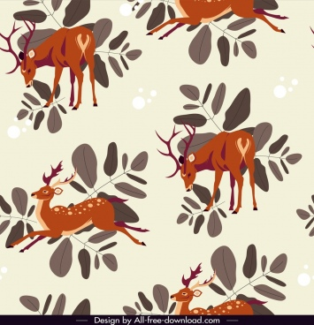 reindeer pattern template classical colored design cartoon sketch