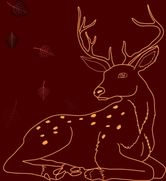 reindeer sketch red background decoration closeup cartoon style