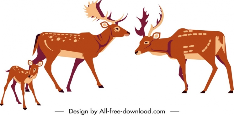 reindeer species painting colored cartoon sketch