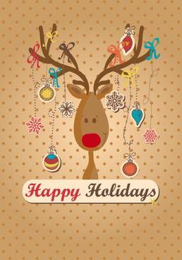 reindeer with christmas ornament vector