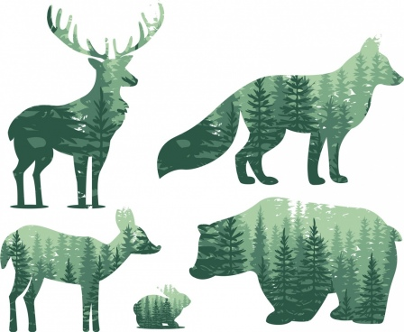 reindeers fox bear rabbit icons scenery silhouette design