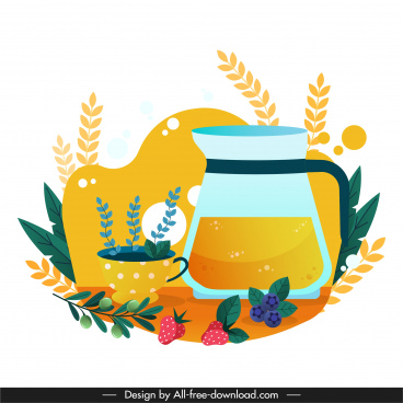relax background fruit tea sketch colorful flat classic