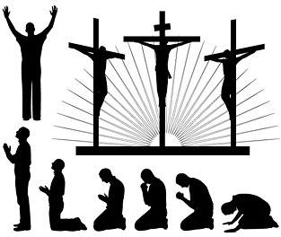 religious people silhouettes vector