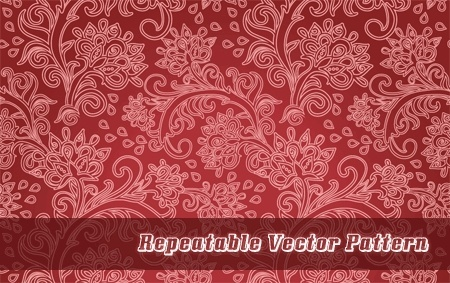 repeatable pattern background red design curves floral style