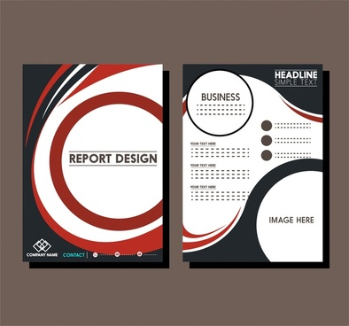 report templates combining curves on white background design